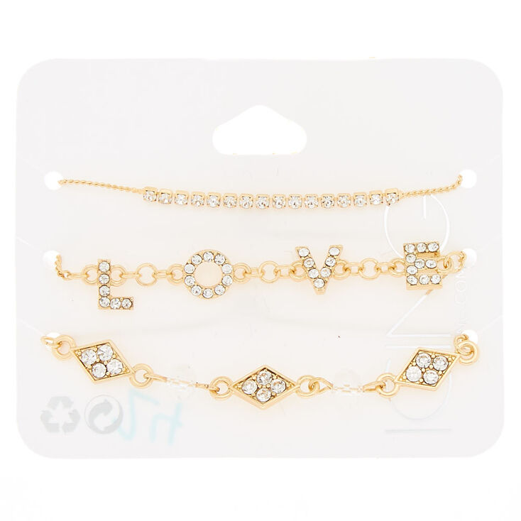 Gold Love Chain Bracelets - 3 Pack,