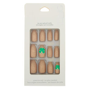 Shamrock Press on Faux Nail Set - Rose Gold, 24 Pack,