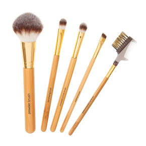 Bamboo 5 Piece Makeup Brush Set with Clear Zip Pouch,
