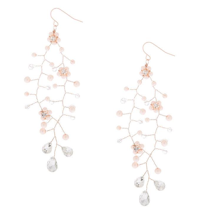 "3"" Rose Gold Peal Chandelier Vine Drop Earrings,"