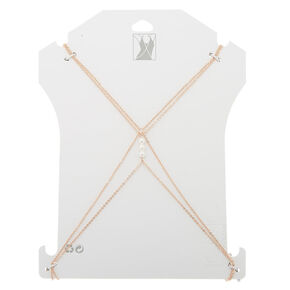Rose Gold-Tone Faux Pearl Body Chain,