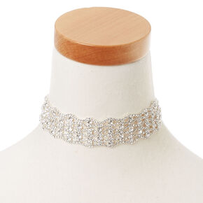 Silver Glass Rhinestone Choker Necklace,