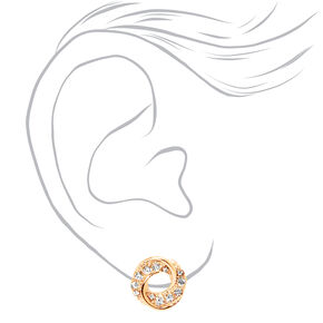 Gold Rhinestone Swirl Knot Stud Earrings,