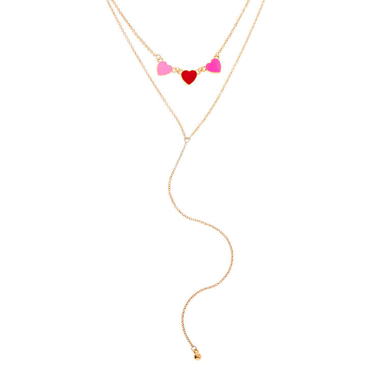 Gold Triple Hearts Multi Strand Necklace,
