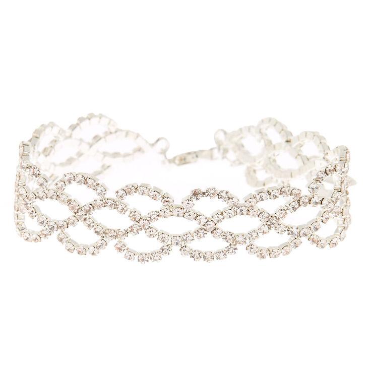 Silver Rhinestone Crochet Chain Bracelet,