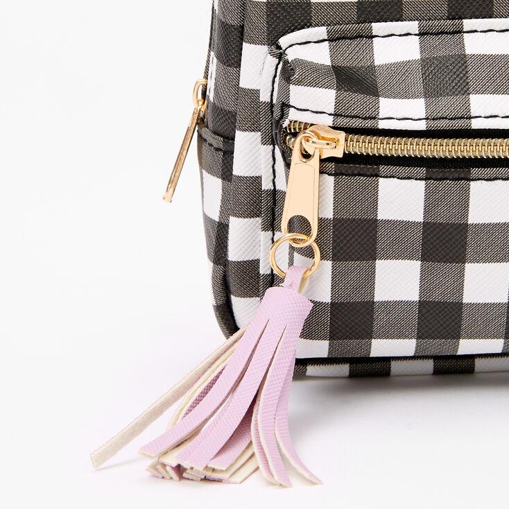 Gingham Mini Backpack Keychain - Black,