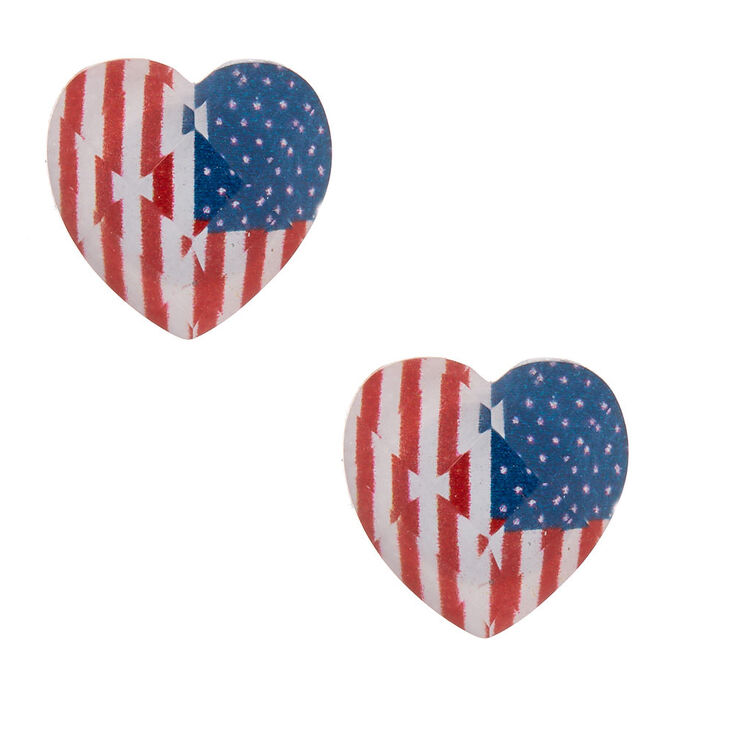American Flag Heart Stud Earrings,