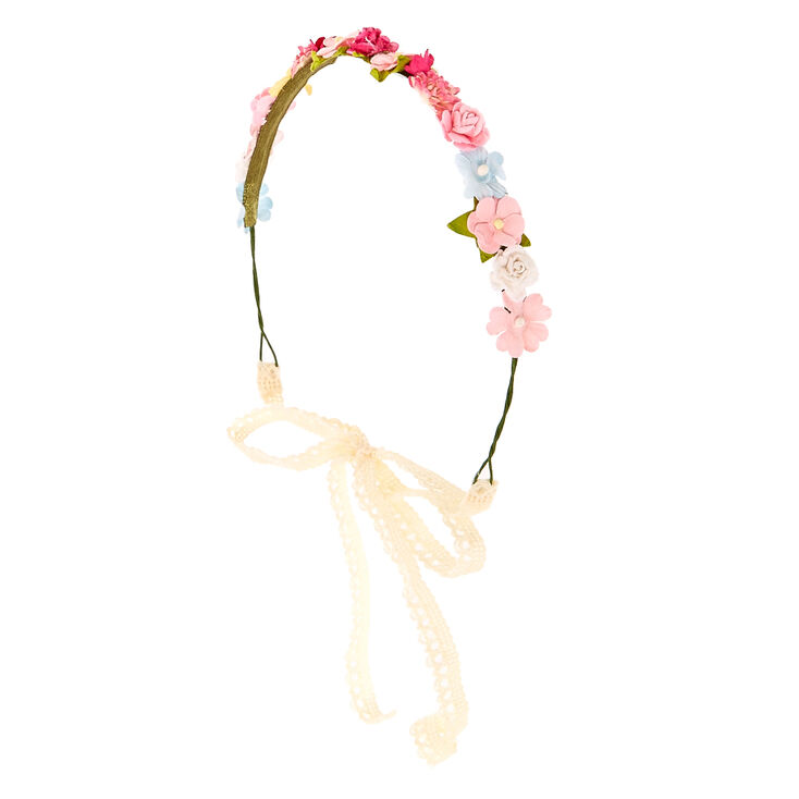 Pink & White Cluster Flower Crown Headwrap,