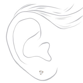 Silver Titanium Cubic Zirconia Round Martini Stud Earrings - 3MM,