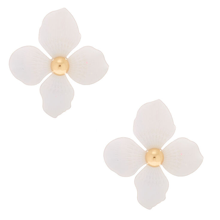 "Gold 2"" Flower Drop Earrings - White,"