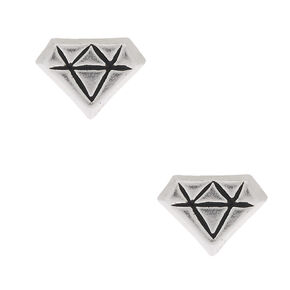 Sterling Silver Diamond Shape Stud Earrings,