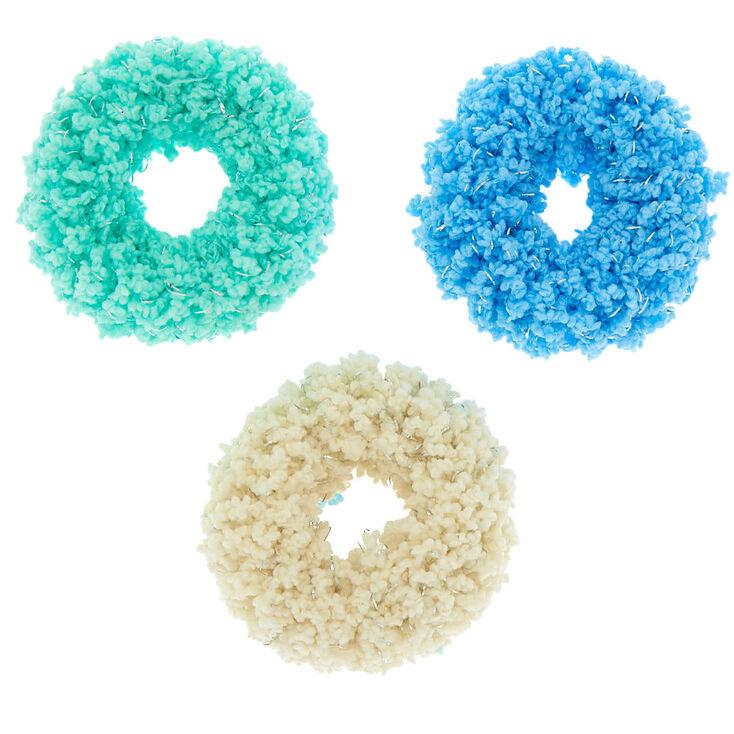Medium Fuzzy Glitter Hair Scrunchies - Blue, 3 Pack,