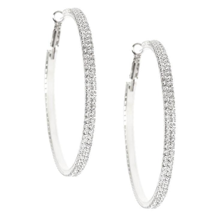 Silver Rhinestone 60MM Hoop Earrings,