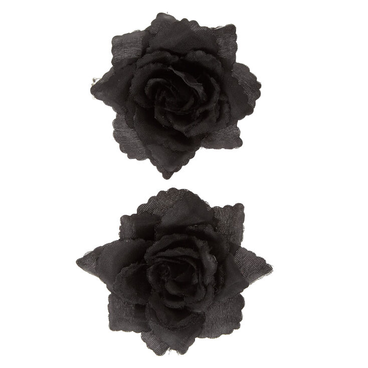 Rose Hair Barrettes - Black, 2 Pack,