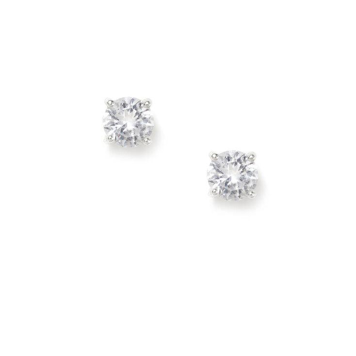Sterling Silver 5MM Cubic Zirconia Round Stud Earrings,
