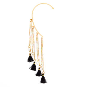Gold Tassel Ear Hanger - Black,