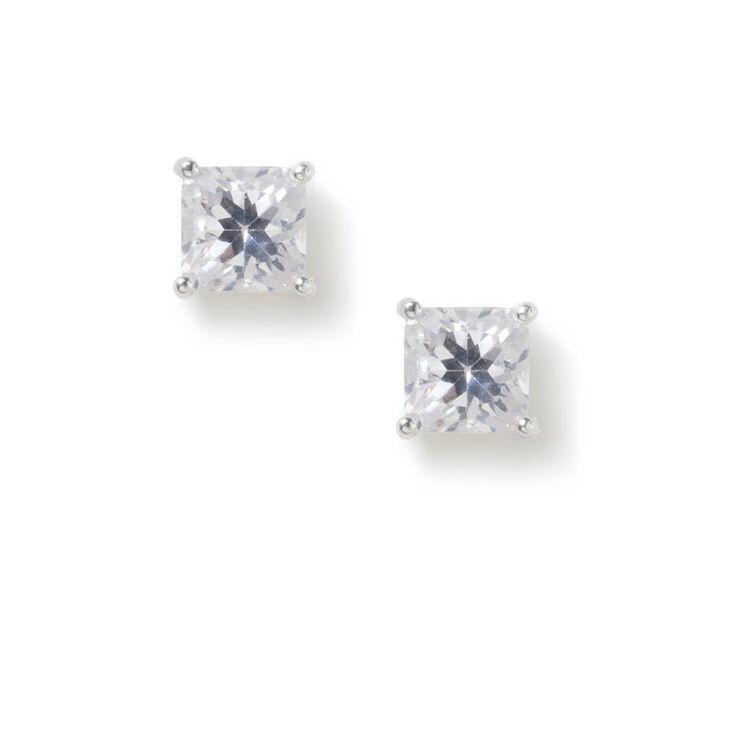 6MM Cubic Zirconia Square Cut Four Prong Set Stud Earrings,