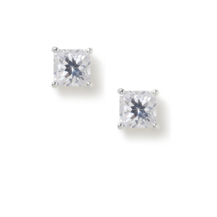 6MM Cubic Zirconia Square Cut Four Prong Set Stud Earrings,
