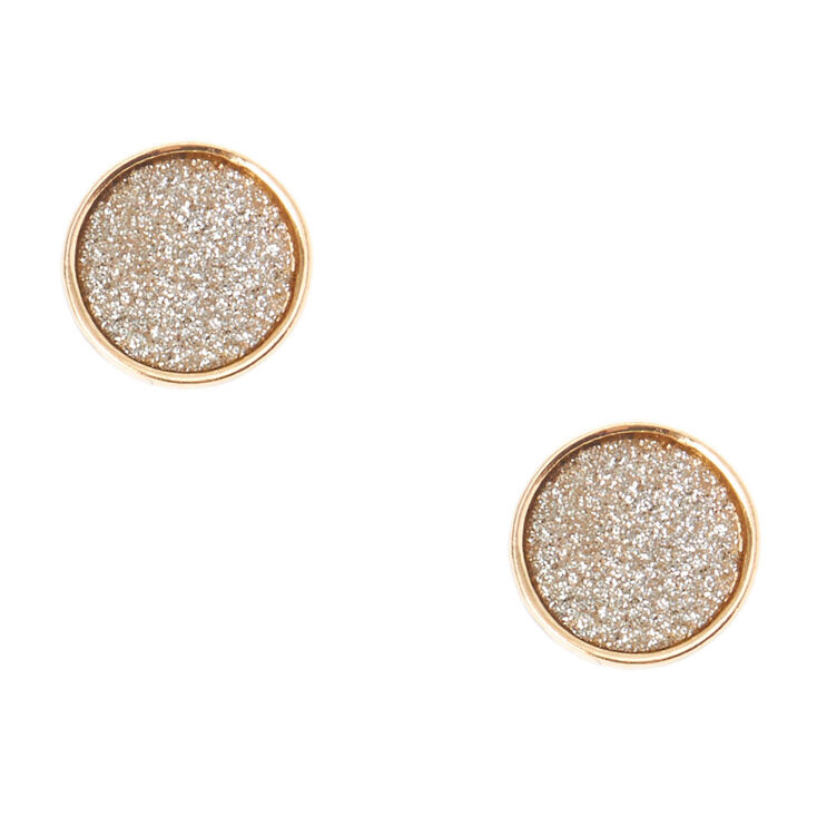 Silver Glitter & Gold Circle Stud Earrings,