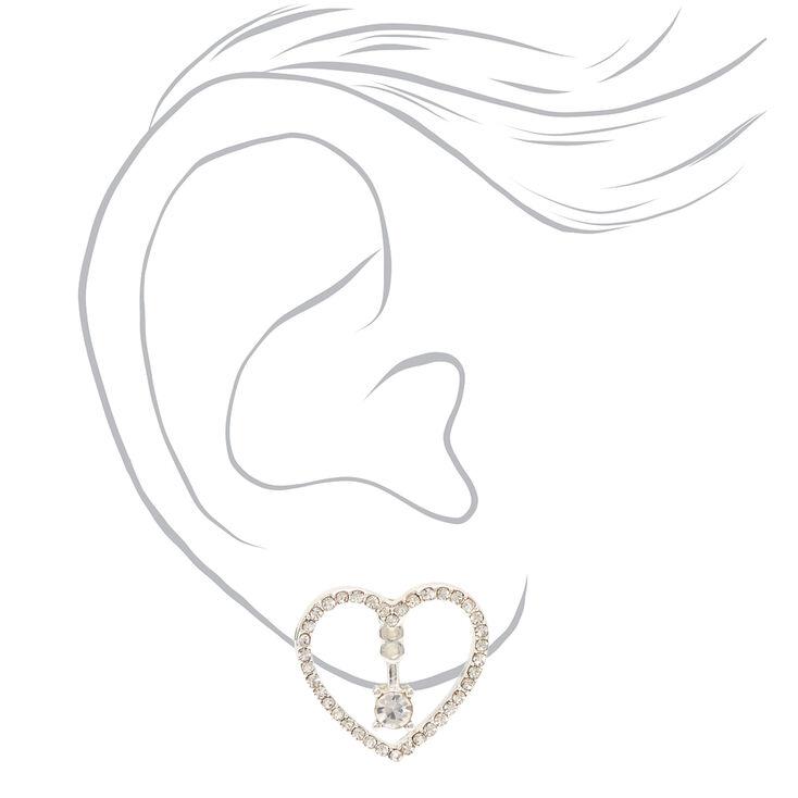 Silver Embellished Heart Ear Jacket Earrings,