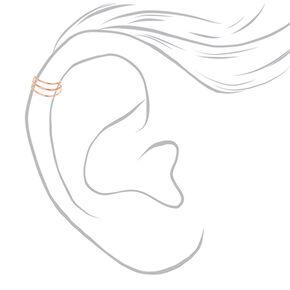 Rose-Gold tone Triple Wire Band Ear Cuff,