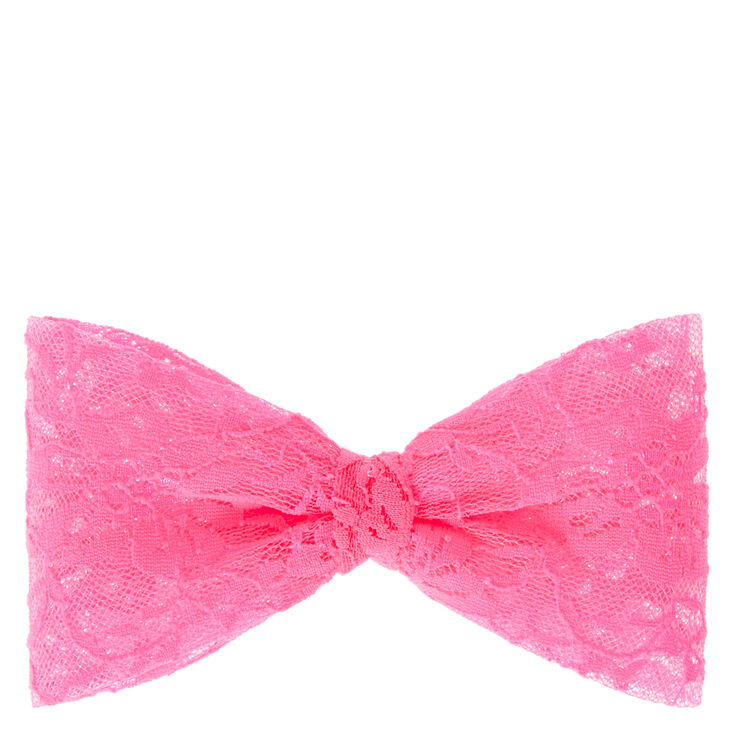 Large Neon Pink Lace Hair Bow,