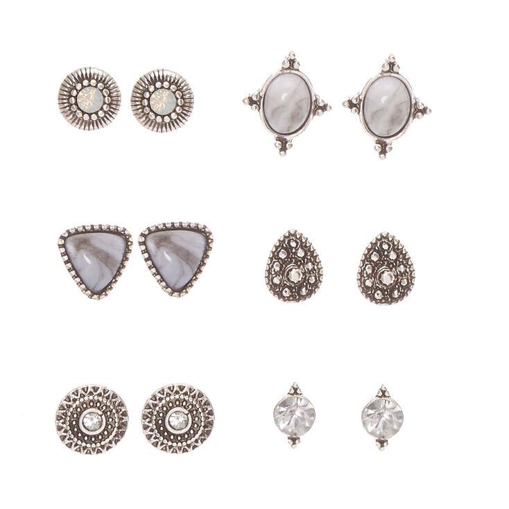 Antique Silver Tone Geometric Marbled Stone Stud Earrings,