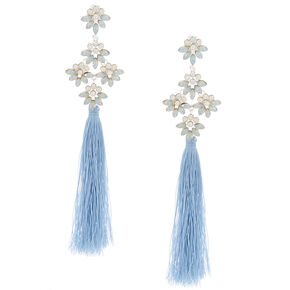 "5"" Tassel Crystal Clip On Drop Earrings - Blue,"