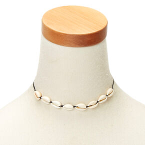 Cowrie Shell Cord Choker Necklace - Black,