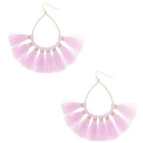 """3"""" Tassel Teardrop Drop Earrings - Lilac,"""