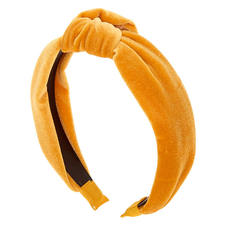 50s Hair Bandanna, Headband, Scarf, Flowers | 1950s Wigs Icing Velvet Knotted Headband - Mustard $7.99 AT vintagedancer.com