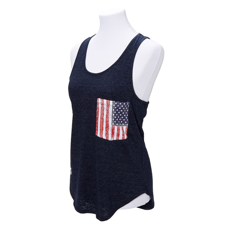 American Flag Pocket Tank Top - Navy,
