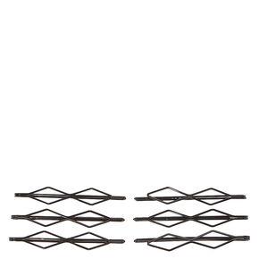 Double Diamond Bobby Pins - Black, 6 Pack,