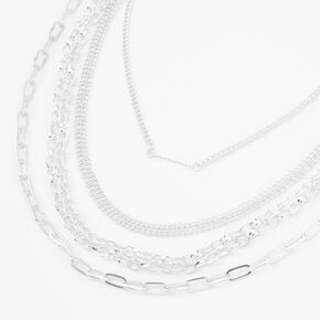 Silver Chain Multi Strand Choker Necklace,