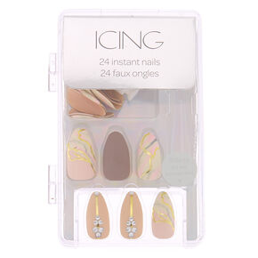 Marble Bling Stiletto Faux Nail Set - Pink, 24 Pack,