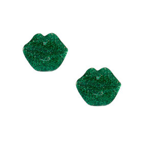 Green Glitter Irish Lip Earrings,