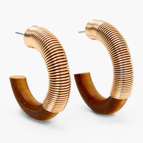 Gold 30MM Slinky Wooden Hoop Earrings,