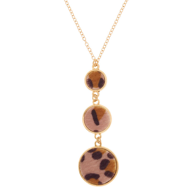 Gold Leopard Long Pendant Necklace,