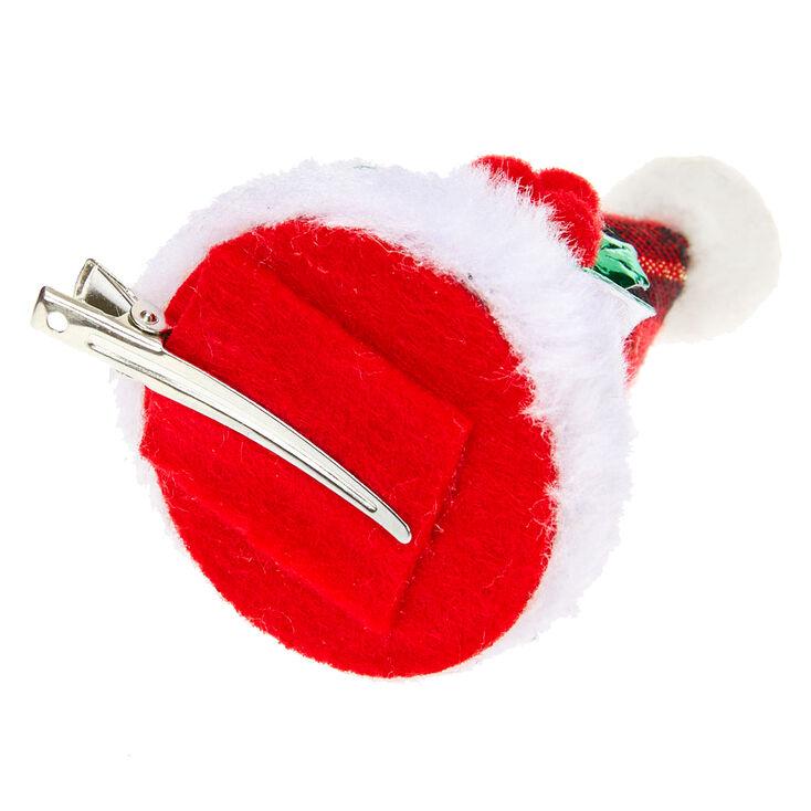 Plaid Santa Hat Hair Clip - Red,