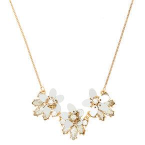 Gold Sequin Flower Pendant Necklace,