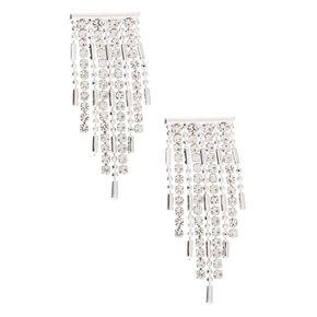 """Silver Rhinestone 1"""" Fringe Drop Earrings,"""