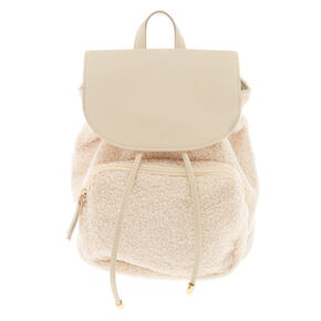 Sherpa Drawstring Midi Backpack - Ivory,