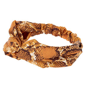 Snakeskin Knotted Headwrap - Yellow,