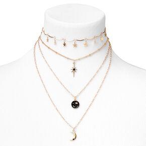 Gold Celestial Disc Multi Strand Choker Necklace - Black,
