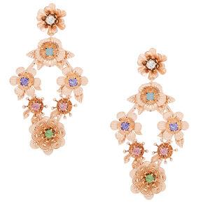 "2.5"" Rose Gold Flower Garden Drop Earrings,"