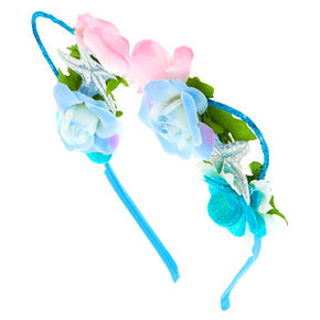 Holographic Mermaid Cat Ears Flower Crown Headband,