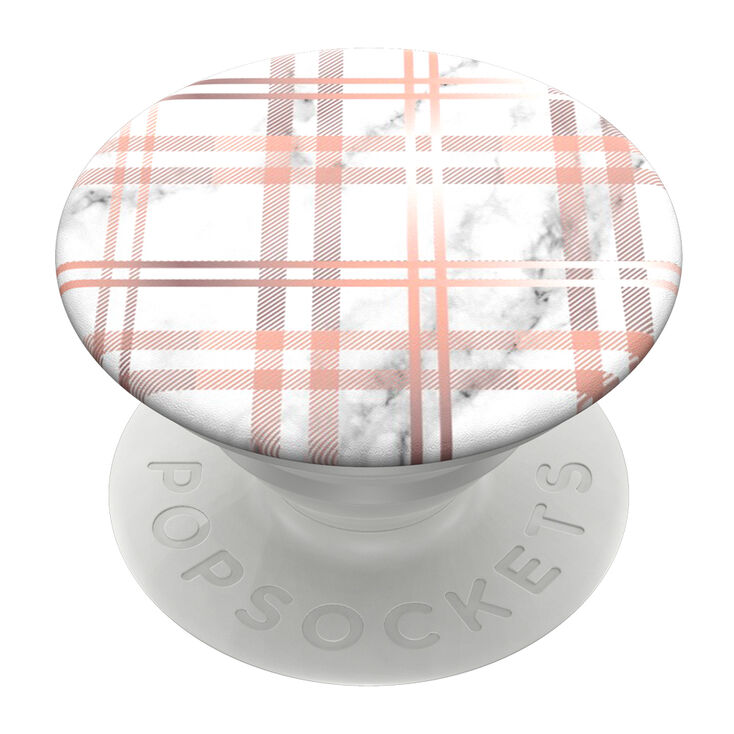 PopSockets Swappable PopGrip - Marble Plaid,