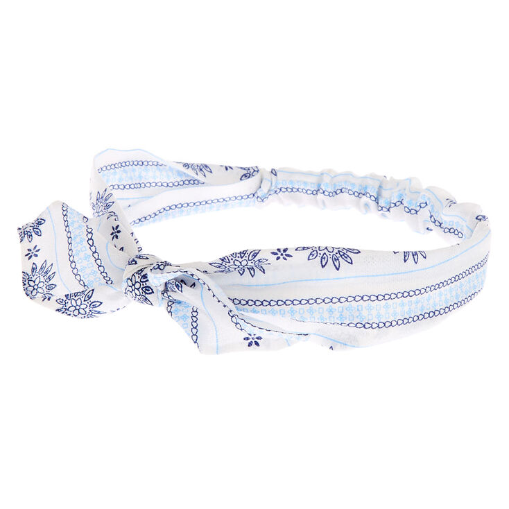 Prairie Floral Knotted Bow Headwrap - White,