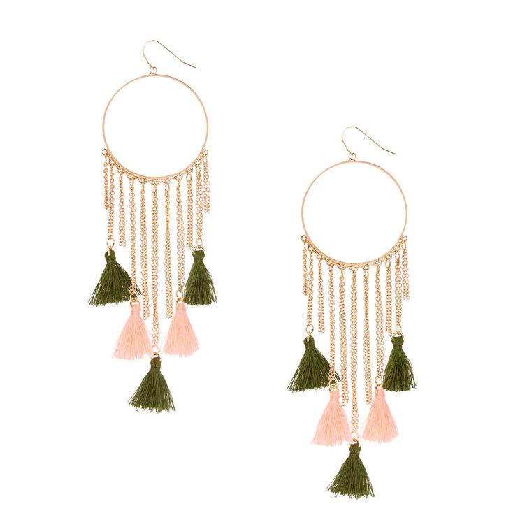 Olive Green & Pink Tassel Chain Hoop Earrings,