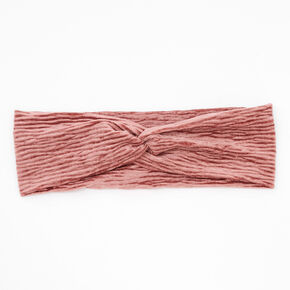 Velvet Pleated Twisted Headwrap - Pink,